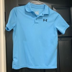 Under Armour Blue youth large collar polo shirt